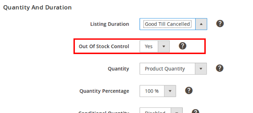 If Out Of Stock Control is enabled