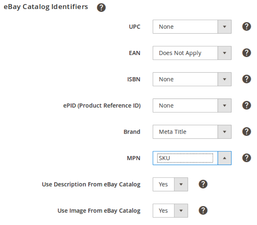 eBay Catalog Identifiers